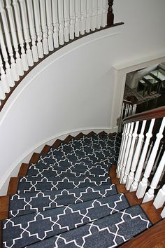 Best Madeline Weinrib Custom Black u0026 White Stair Runner, Design Serendipity  Interiors black and white stair runner