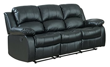 Elegant Homelegance Double Reclining Sofa, Black Bonded Leather black leather reclining sofa