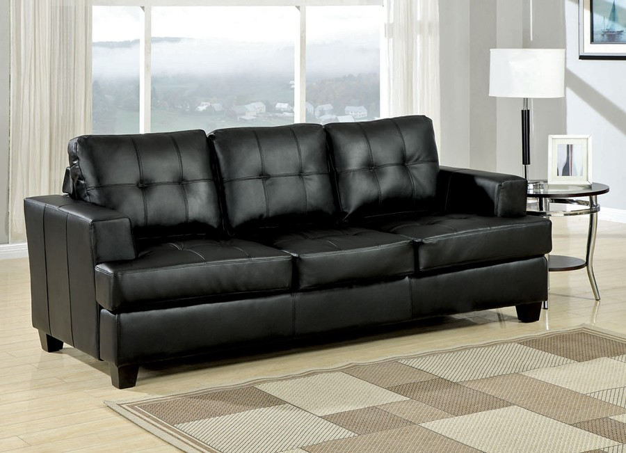 The statement made with a black leather sofa