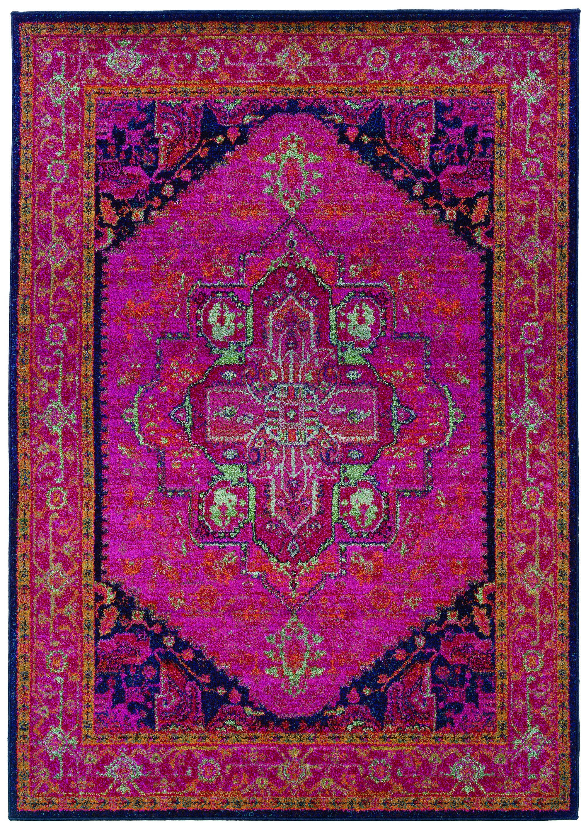 Pictures of Traditional Oriental Rug, Machine Woven Pink Navy Polypropylene Runner  Option bright persian rug