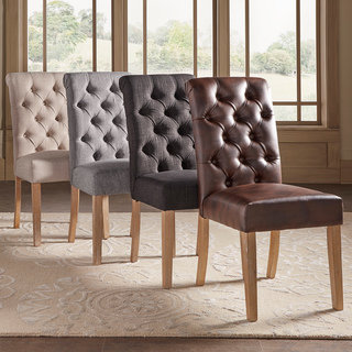 Stylish Benchwright Tufted Rolled Back Parsons Chairs by SIGNAL HILLS (Set of 2) cheap dining room chairs