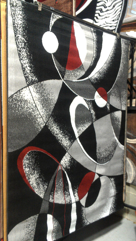Chic Abstract Contemporary 5x8 Red Black White Gray Area Rug Modern Carpet Red  Black And White