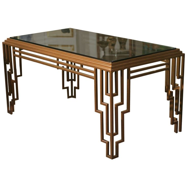Chic Art Deco Style Stepped Geometric Dining Table / Desk art deco furniture style