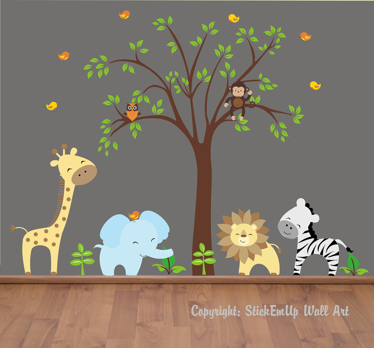 Chic Baby Wall Decals - 131 - Nursery Wall Decals - Jungle Wall Decals. baby bedroom wall stickers