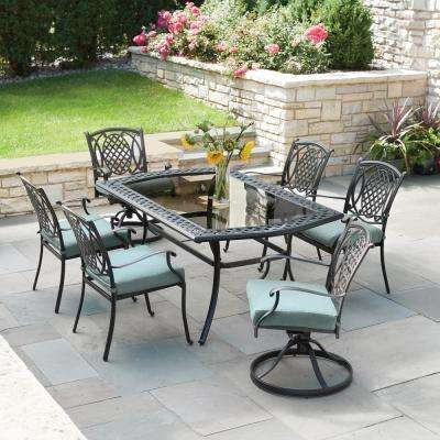 Chic Belcourt 7 Piece Metal Outdoor Dining Set With Spa Cushions Patio  Furniture Dining Sets