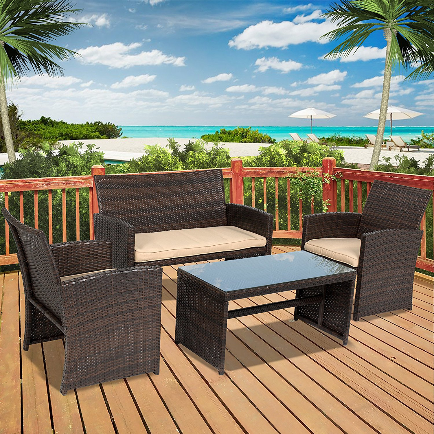 Chic Best Choice Products 4pc Wicker Outdoor Patio Furniture Set Custioned Seats outdoor patio furniture sets