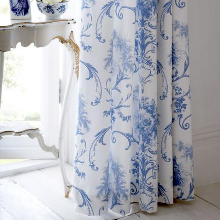 Chic Blue Toile Curtains | Dorma Blue Toile Lined Pencil Pleat Curtains blue toile curtains