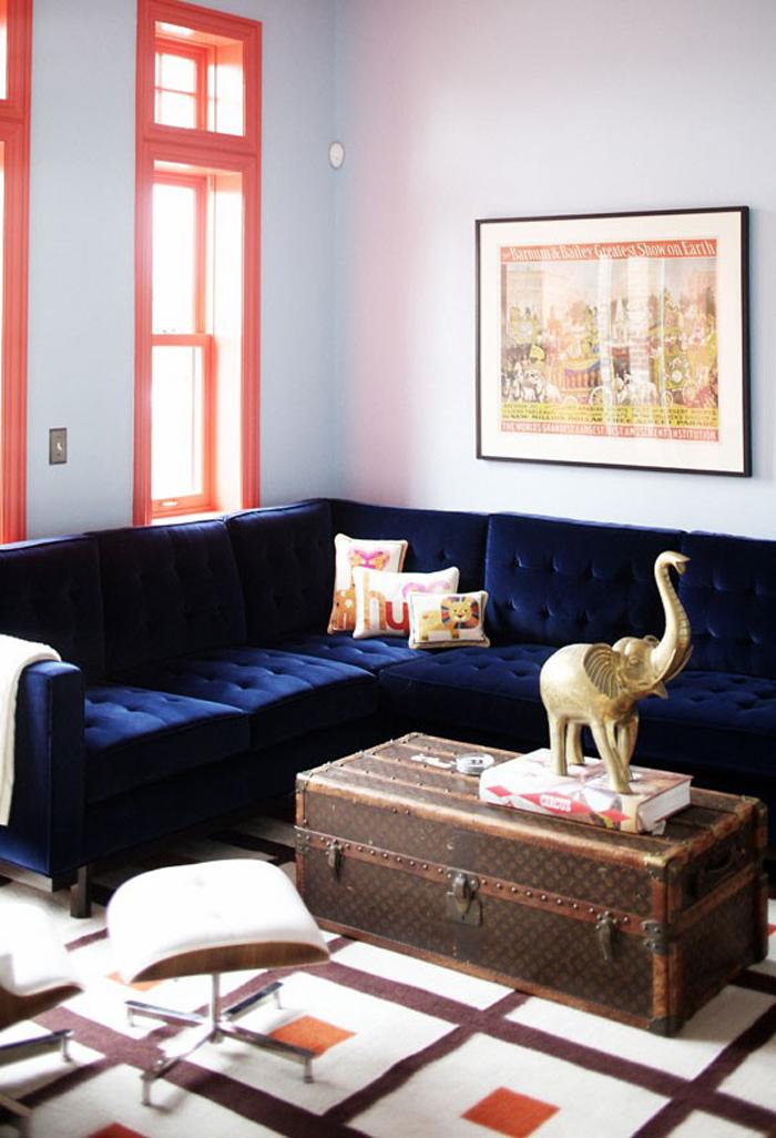 Chic blue velvet sofa elephant on trunk navy blue velvet sofa