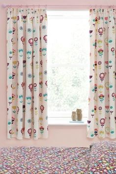 Chic Buy Retro Floral Print Pencil Pleat Curtains from the Next UK online shop next retro floral curtains