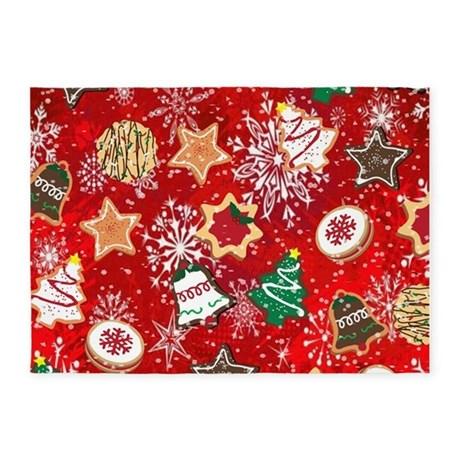 chic christmas cookies 5u0027x7u0027area rug large christmas rugs - Christmas Rugs Large