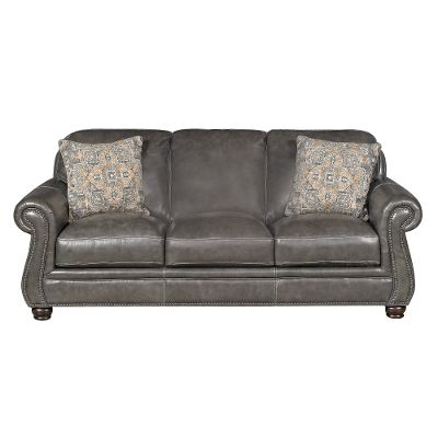 Chic Classic Traditional Charcoal Gray Leather Sofa - London gray leather sofa