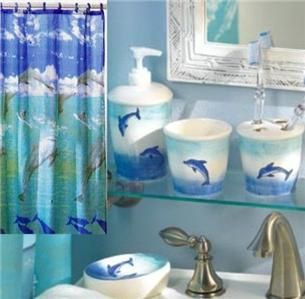 Chic COMPLETE 6 PC SET Leaping DOLPHIN Bathroom With SHOWER Curtain u0026Tumbler complete bathroom sets