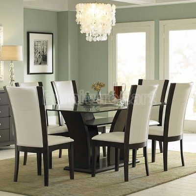 Delightful Chic Daisy Glass Top Dining Room Set With White Chairs Glass Top Dining  Room Sets