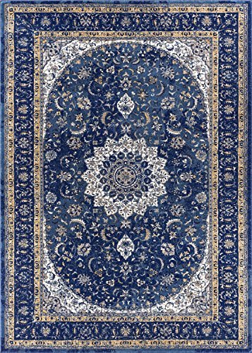 Chic Djemila Medallion Blue Vintage Persian Floral Oriental Area Rug 5 x 7 blue persian rug