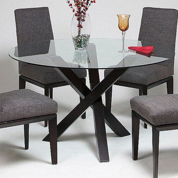 Chic Dovetail Chauncey Table. Round Glass Top Dining ... round glass top dining table