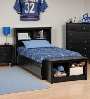 Chic Full size Platform Storage Bed with Bookcase Headboard - See full storage bed with bookcase headboard