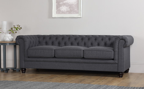 Chic Hampton Slate Grey Fabric Chesterfield Sofa 3 Seater