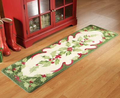 Chic Holiday Holly Floor Runner Area Rug. Exclusive. Larger View large christmas rugs