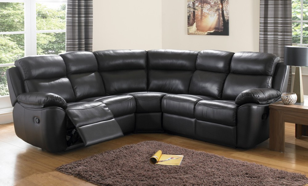 Chic Leather Corner Sofa Black