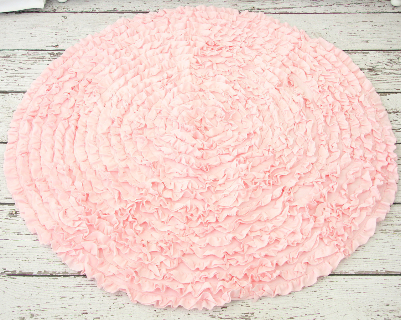 Chic ... Light Pink Round Ruffle Rug ... light pink rug