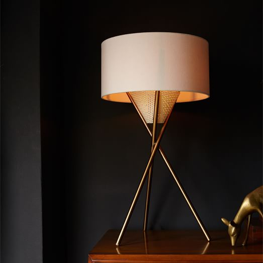 Chic Mid-Century Tripod Table Lamp - Antique Brass | west elm tripod table lamp