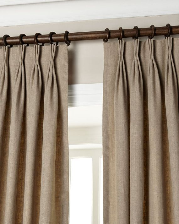 Chic Natural Gray 20u0027u0027 Triple Pinch Pleat Curtains / Drapes / Panels pinch pleat drapes
