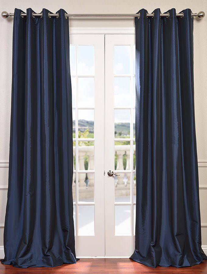 Chic Navy Blue Grommet Blackout Faux Silk Taffeta Curtain - SKU: PTCH-BO194010-GR navy blue curtains