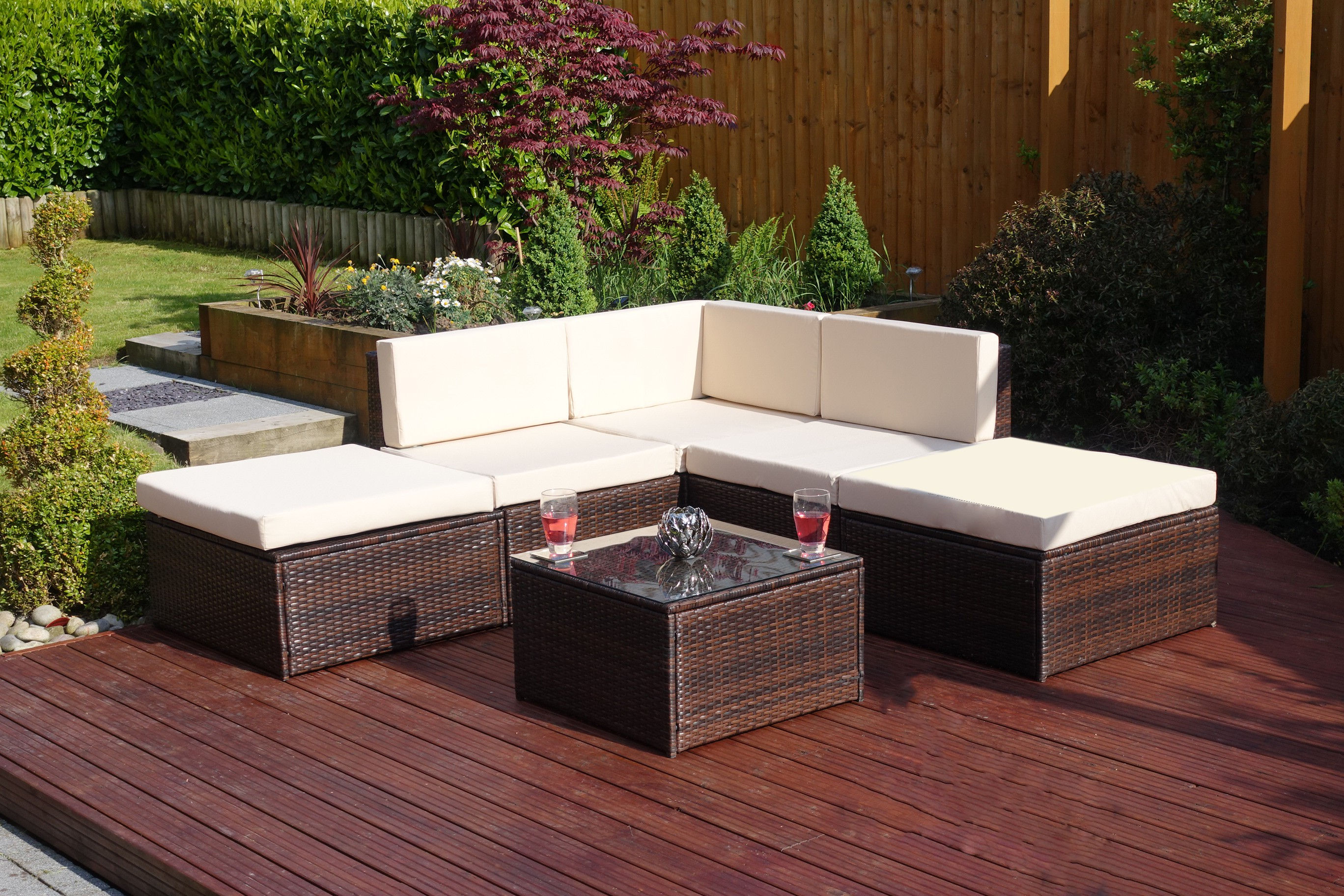 Chic New 6 Piece Lake Como Modular Rattan Corner Sofa Set in Brown rattan corner sofa set