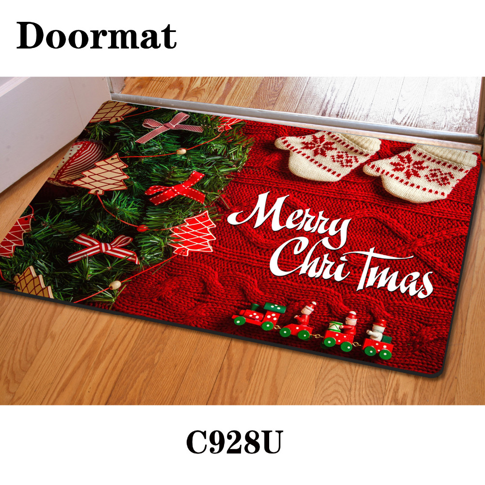 Chic New Arrive Creative 3D Printing Christmas Mat Non Slip Creative Merry  Christmas christmas kitchen rugs