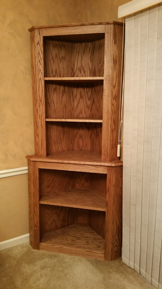 Chic Oak Corner Hutch Cabinet Curio Bookcase Shelf Dishware Display Case oak corner bookcase