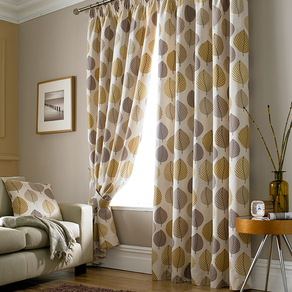 Chic Ochre Regan Collection Lined Pencil Pleat Curtains retro style curtains