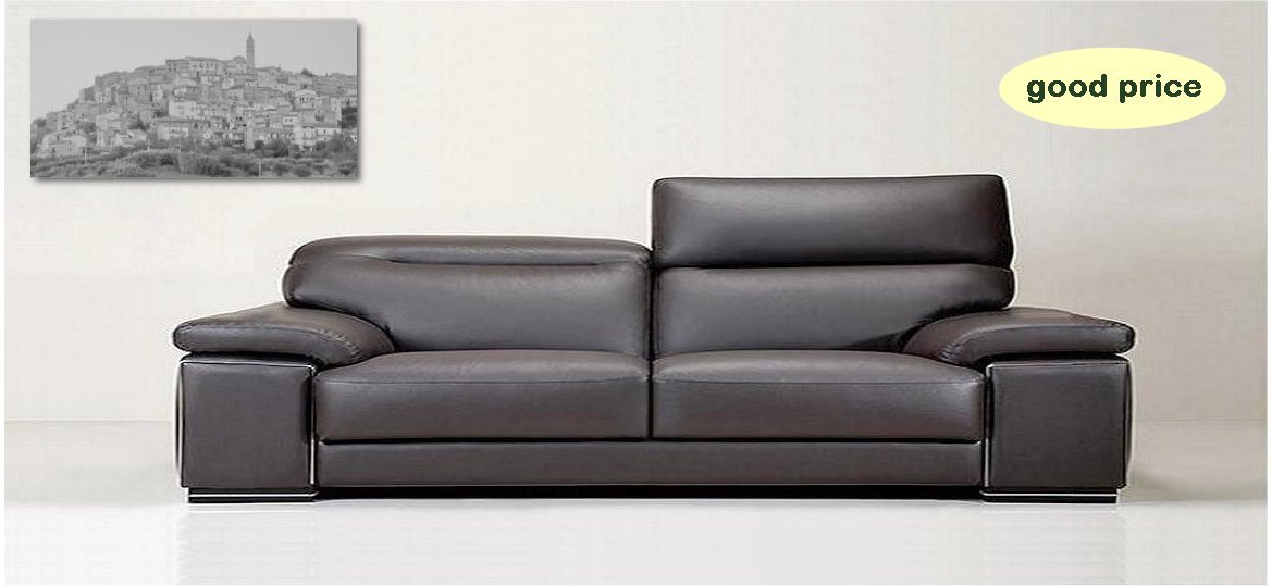 Chic Original Italian leather sofa , with stainless steel ornament on arm italian leather sofas