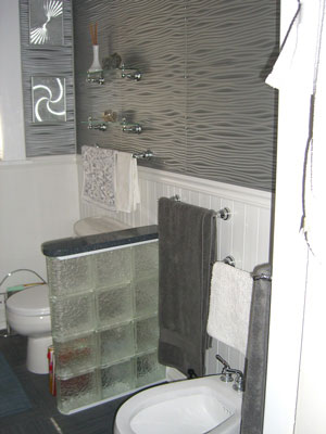 Chic PVC Beadboard In A Contemporary Bathroom cover bathroom tile with beadboard
