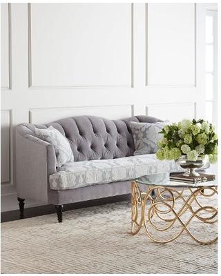 Chic Raylen Tufted Sofa, Grey/Gray gray tufted sofa
