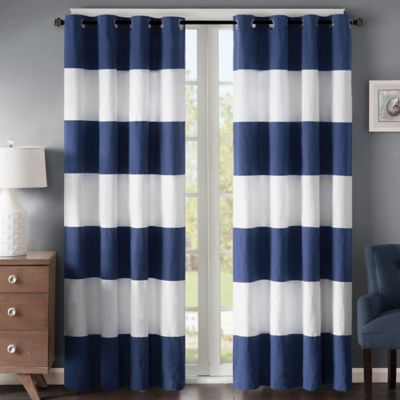 Chic Regency Heights Parker Stripe 84-Inch Grommet Top Window Curtain Panel in  Navy/White navy blue and white striped curtains