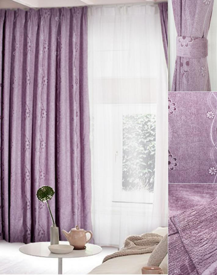 Chic Romantic Lilac Polyester Blackout Curtain For Living Room lilac blackout curtains