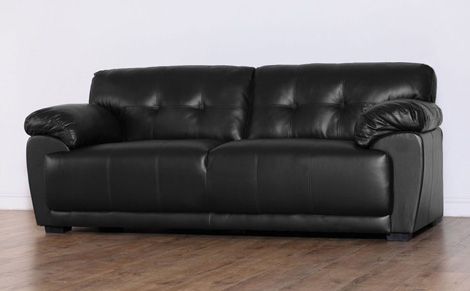 Chic Sienna Black 3 Seater Leather Sofa 3 seater leather sofa