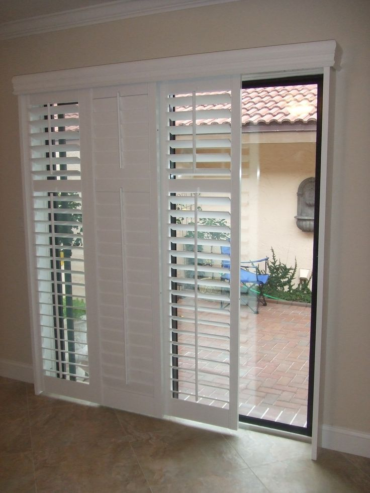 Chic Sliding Shutters modernize your sliding glass patio door and are a great patio door blinds