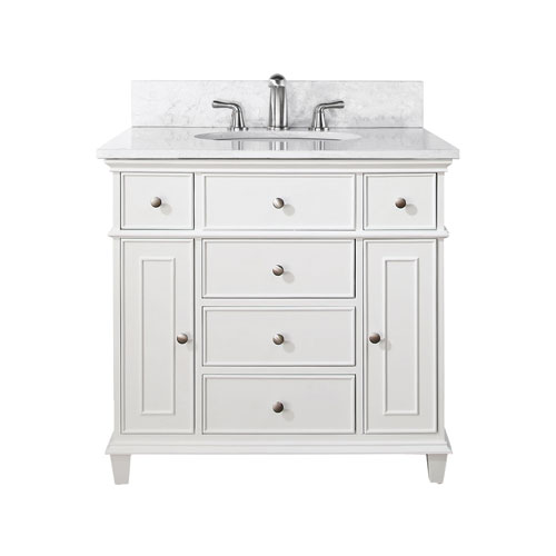 Chic Windsor 36-Inch White Vanity with Carrera White Marble top and Undermount  Sink 30 inch bathroom vanity with top