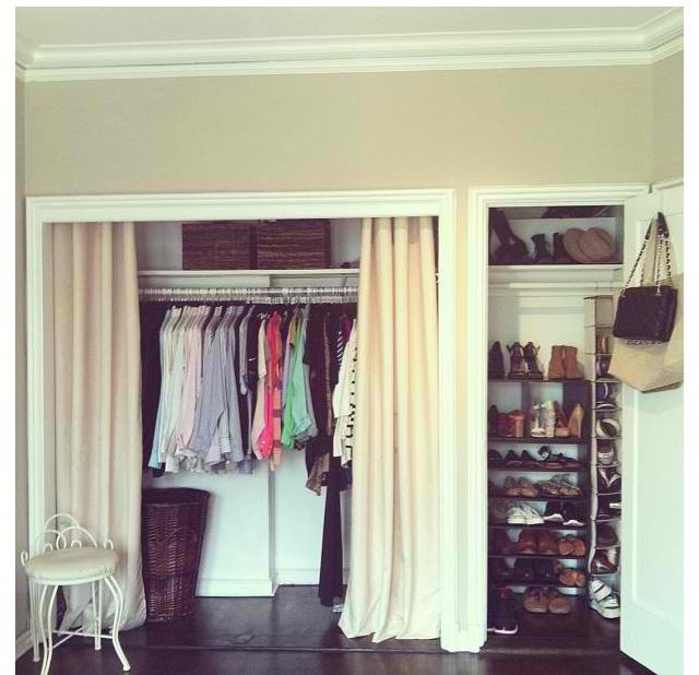 Amazing Install moulding, remove doors and use curtains instead. Donu0027t have doors on closet door curtains