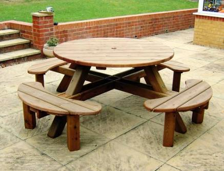 Compact 8 Seater Round Garden Picnic Table round wooden garden table and chairs