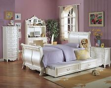 Compact ACME Pearl children bedroom set girls sleigh gold accent youth princess princess bedroom set