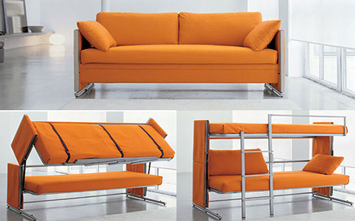 Compact bonbon convertible sofa bunk-bed dorm room furniture