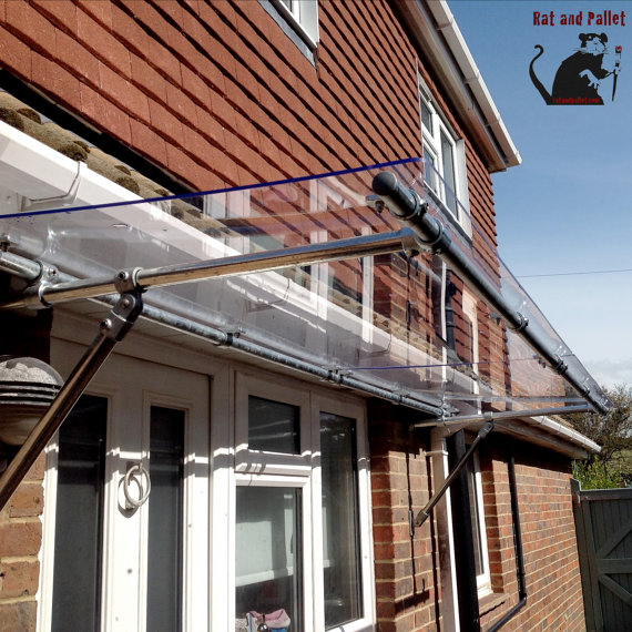 Compact Door Canopy / Rain Cover For Porch. Outdoor Awning By RatAndPallet  Patio Door Canopy