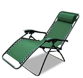 Compact Outsunny Zero Gravity Recliner Lounge Patio Pool Chair, Green zero gravity outdoor recliner