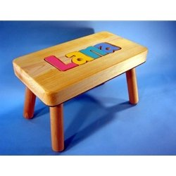 Compact Personalized Wooden Name Puzzle Stools at Kaboodle Gifts personalized wooden stool