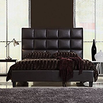 Compact Queen Size Modern Bed with Faux Leather Headboard bed leather headboard
