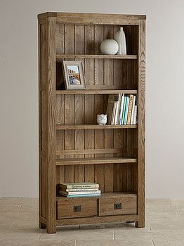 Compact Windsor Brushed Solid Oak Large Bookcase | Mood Board - Living Room | oak furniture land bookcase