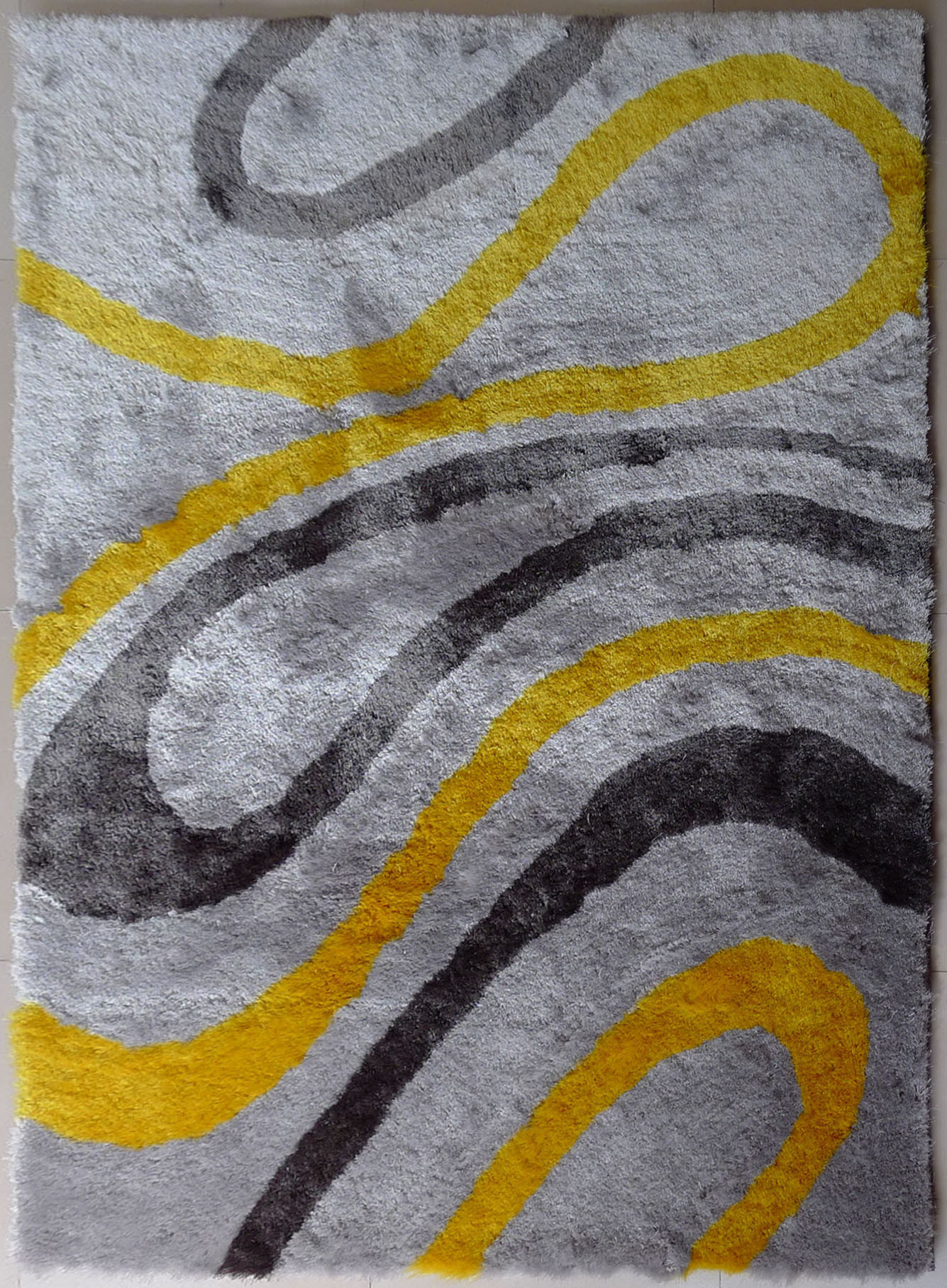 yellow and white rug