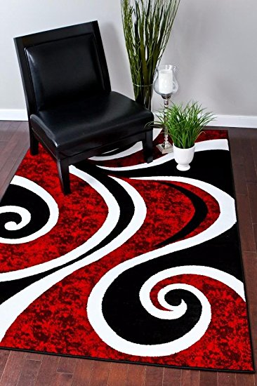 Contemporary 0327 Red Black Swirl White Area Rug Carpet 5x7 Modern Abstract red black and white area rugs